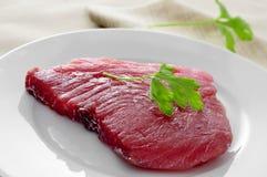Ruw tonijnlapje vlees royalty-vrije stock fotografie