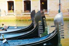 Ruw van gondels, Venetië, Italië Stock Foto's
