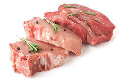 Ruw Varkenskoteletten en Rundvlees Royalty-vrije Stock Fotografie