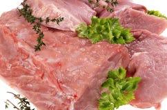 Ruw varkensvlees met verse kruiden royalty-vrije stock fotografie