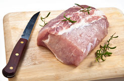 Ruw varkensvleeslendestuk stock foto's