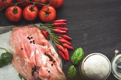 Ruw varkensvleesvlees stock foto's