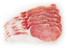 ruw varkensvleesvlees dat op witte achtergrond wordt geïsoleerdr Stock Foto's