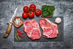 Ruw vers marmervleeslapje vlees royalty-vrije stock foto