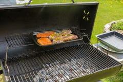 Ruw vlees op de grill Stock Foto's
