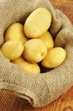 Ruwe aardappels in jutezak stock foto's