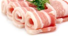 Ruwe baconplakjes Royalty-vrije Stock Foto's