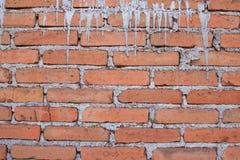 Ruwe baksteentextuur met gedropen beton royalty-vrije stock afbeelding