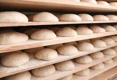 Ruwe broden van brood op planken Stock Foto's