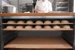 Ruwe broden van brood op planken Stock Afbeeldingen