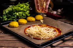 Ruwe cakepizza met kaas royalty-vrije stock afbeeldingen