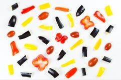 Ruwe die voedselgroenten op witte achtergrond in het eten worden geïsoleerd patte Stock Foto