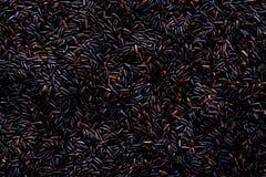 Ruwe donkerrode, achter purpere rijst, textuur De achtergrond van het Riceberrypatroon De achtergrond van het voedselingrediënt H Stock Foto