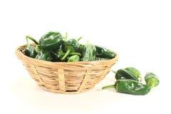 Ruwe groene Spaanse pepers in een kom Stock Foto
