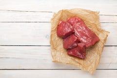Ruwe het lapje vleesstukken van het filetrundvlees Royalty-vrije Stock Foto