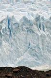 Ruwe ijsmuur van Gletsjer Perito Moreno Stock Afbeeldingen