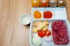 Ruwe ingrediënten van een Indische keuken - gehakt Royalty-vrije Stock Foto