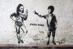 Ruwe Jonge geitjesgraffiti Stock Foto's