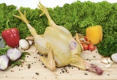 Ruwe kip op een achtergrond van groenten op een houten raad Stock Fotografie