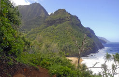 Ruwe Kustlijn en Klippen langs de Kalalau-Sleep van Kauai, Hawaï stock foto