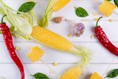 Ruwe Organische Gele Maïskolven Klaar aan grill met de het hete knoflook en kruiden van de Spaanse peperpeper Stock Afbeelding