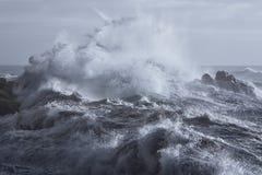 Ruwe overzees op de kust stock foto's