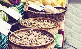 Ruwe slakken levend voor verkoop in de vissenmarkt Pescheria van Catani?, Sicili?, Itali? royalty-vrije stock afbeelding