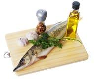 Ruwe snoeken met het koken van ingrediënten Stock Fotografie
