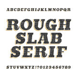 Ruwe uitstekende plakserif alfabetdoopvont vector illustratie