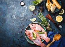 Ruwe vissen en ingrediënten Royalty-vrije Stock Foto