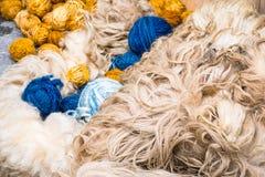 Ruwe wol voor weefsel en garen het maken Royalty-vrije Stock Afbeeldingen