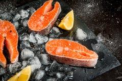 Ruwe zalmlapjes vlees op ijs royalty-vrije stock fotografie