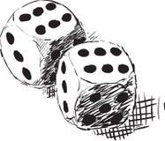 Ruwe zwart-wit schets - twee dobbelen Stock Foto