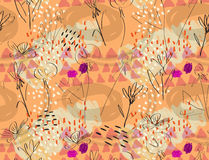 Ruwweg geschetste oranje purple van de paardebloembloem Royalty-vrije Stock Foto