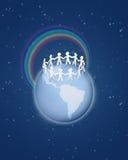 Ruwweg verwijderde document mensencirkel op bol royalty-vrije illustratie