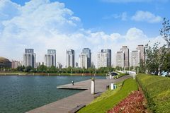 Beautiful Lake View in the business district royalty free stock images