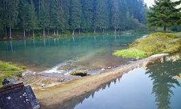 Ruzomberok - Cutkovska valley - rocks in a water reservoir with mirroring trees on the water surface. Water, trees and mirror royalty free stock images
