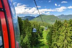 Cablecars in mountain resort Malino Brdo, Slovakia. RUZOMBEROK? SLOVAKIA - JUN 20: Ropeway in mountain resort Malino Brdo on Jun 20, 2016 in Ruzomberok Stock Image