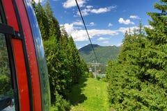 Cablecars in mountain resort Malino Brdo, Slovakia. RUZOMBEROK? SLOVAKIA - JUN 20: Ropeway in mountain resort Malino Brdo on Jun 20, 2016 in Ruzomberok Royalty Free Stock Photo
