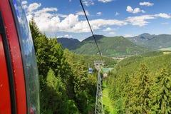 Cablecars in mountain resort Malino Brdo, Slovakia. RUZOMBEROK, SLOVAKIA - JUN 20: Ropeway in mountain resort Malino Brdo on Jun 20, 2016 in Ruzomberok Stock Image
