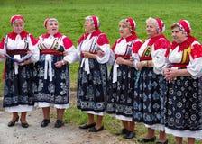 Senior woman in folk costume royalty free stock photos