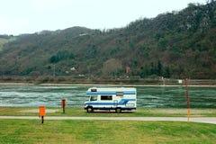 RV на береге реки Стоковое фото RF