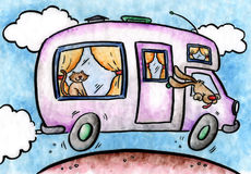 The RV. An RV, complete with pets, hits the highway. Art marker on vellum Royalty Free Stock Images