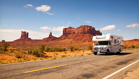 RV. Motor Home RV travel in Monument Valley, Utah Stock Photography
