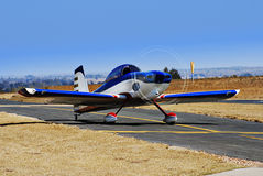 RV-8 Stunt Plane Taxiing for Takeoff. An aerial stunts [aerobatics] light plane. Ready, Steady, Fly … This light aircraft competitor [an RV-8] is taxiing royalty free stock photo