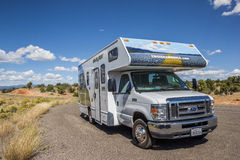 RV along highway 12 in Utah Stock Photo