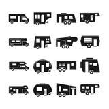 Rv-auto's, kampeerauto's vectorpictogrammen stock illustratie