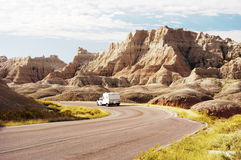 RV in the Badlands. Traveling in a recreational vehicle in the Badlands National Park Royalty Free Stock Images
