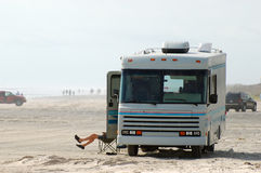 RV on the Beach Royalty Free Stock Image