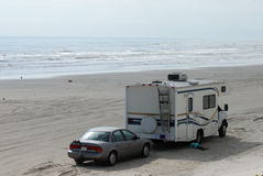 RV on the Beach Royalty Free Stock Photo